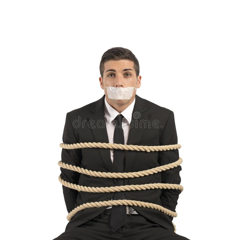 Mobbing and stress at work. Concept of businessman with mobbing and stress at work royalty free stock photo