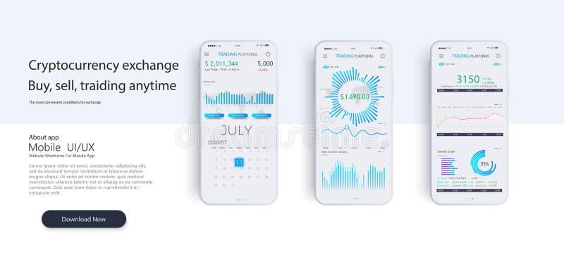 Mobiel app infographic malplaatje met de moderne grafieken van ontwerp wekelijkse en jaarlijkse statistieken royalty-vrije illustratie