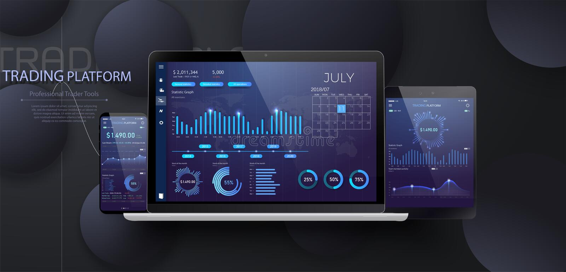 Mobiel app infographic malplaatje met de moderne grafieken van ontwerp wekelijkse en jaarlijkse statistieken vector illustratie