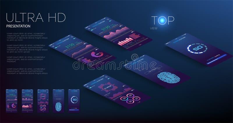 Mobiel app infographic malplaatje met de moderne grafieken van ontwerp wekelijkse en jaarlijkse statistieken Cirkeldiagrammen, we royalty-vrije illustratie