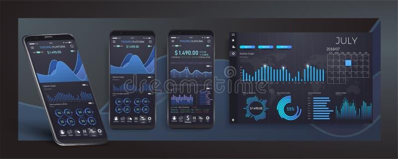 Mobiel app infographic malplaatje met de moderne grafieken van ontwerp wekelijkse en jaarlijkse statistieken UI UX-ontwerpapp cry royalty-vrije illustratie
