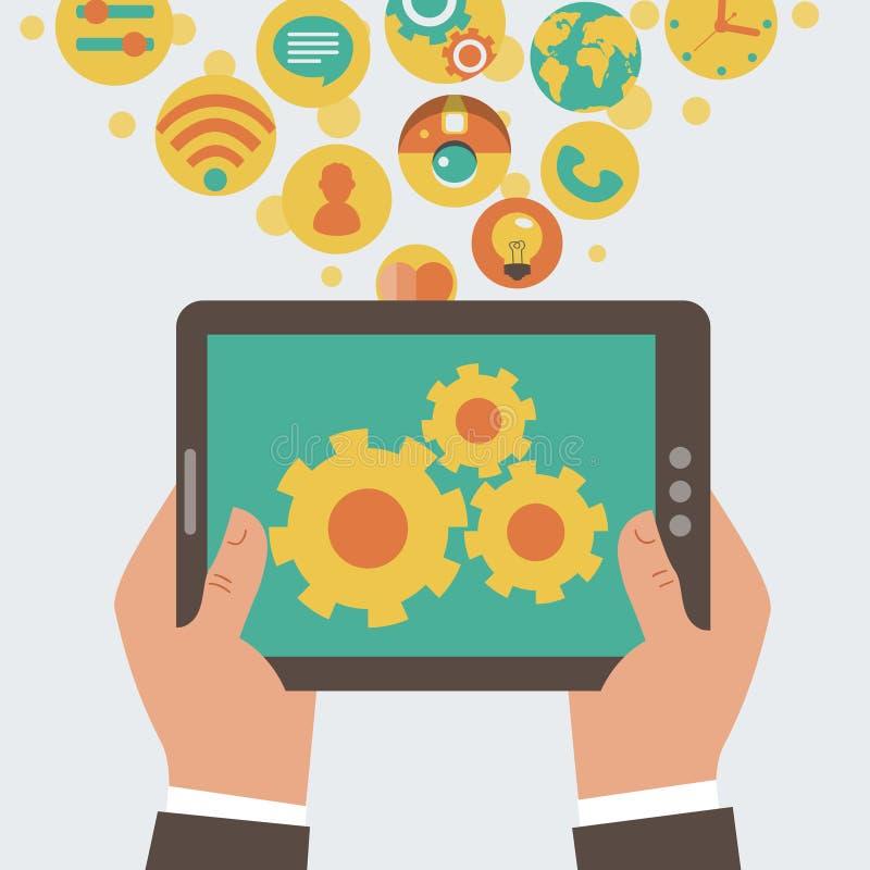 Mobiel app ontwikkelingsconcept vector illustratie