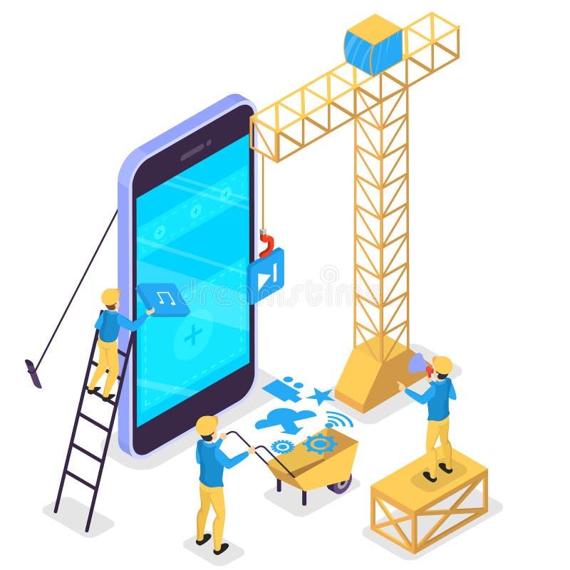 Mobiel app ontwikkelingsconcept Moderne technologie en smartphone royalty-vrije illustratie