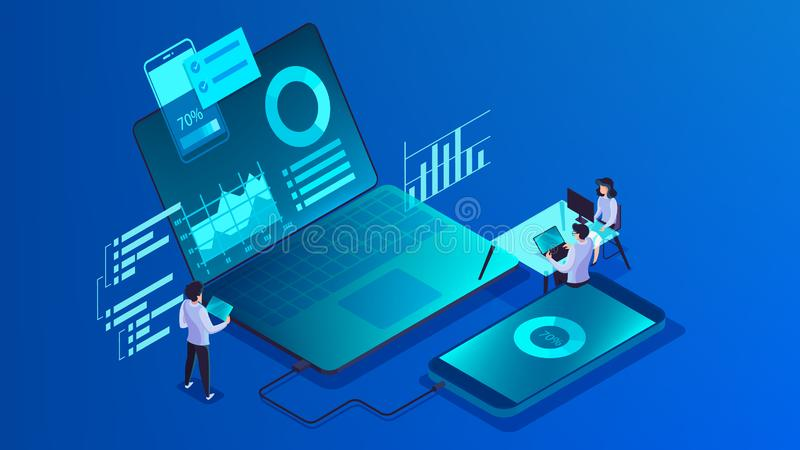 Mobiel app ontwikkelingsconcept Moderne technologieillsutration vector illustratie