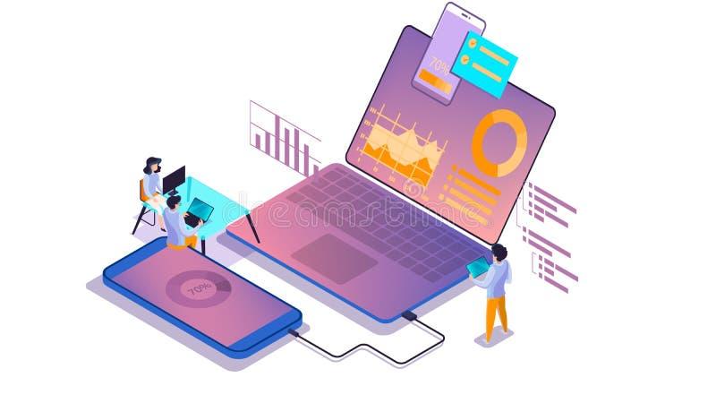 Mobiel app ontwikkelingsconcept Moderne technologieillsutration stock illustratie