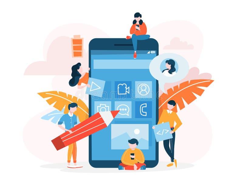 Mobiel app ontwikkelingsconcept Moderne technologieillsutration royalty-vrije illustratie