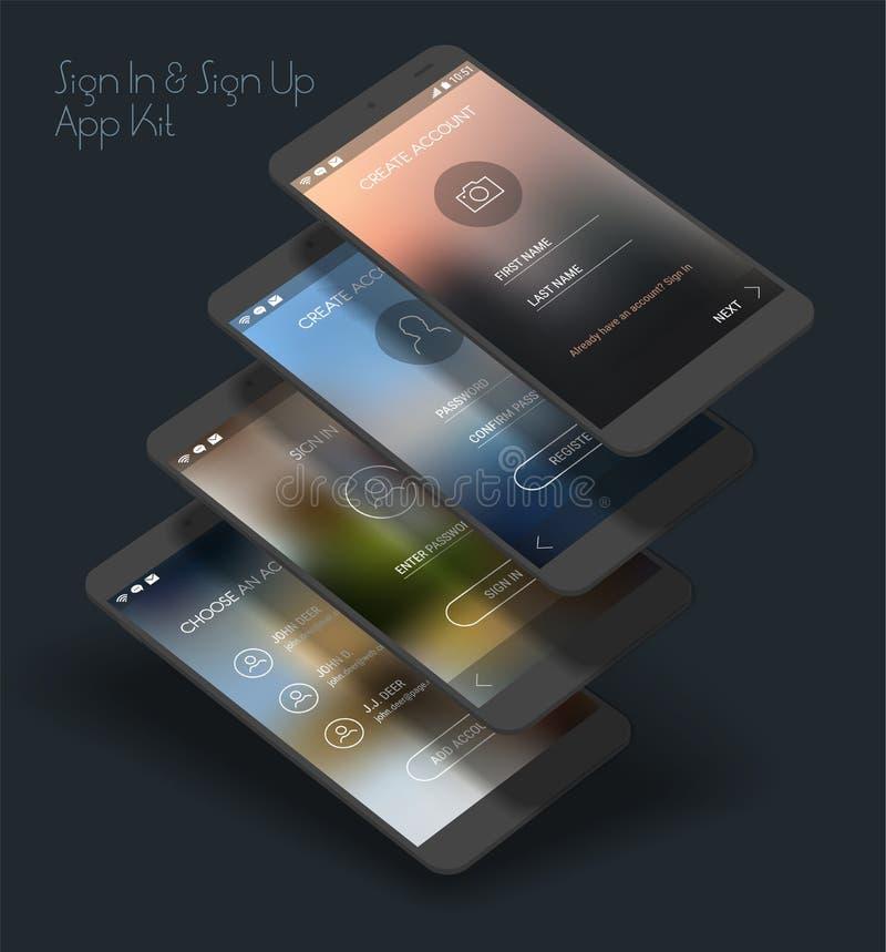 Mobiel App UI Teken binnen en Teken op uitrusting van het de schermen 3d model royalty-vrije illustratie