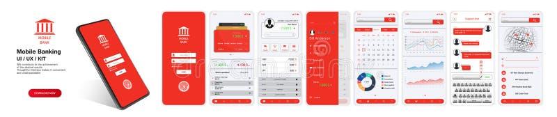 Mobiel Bankwezen App, UI, UX, UITRUSTING stock illustratie