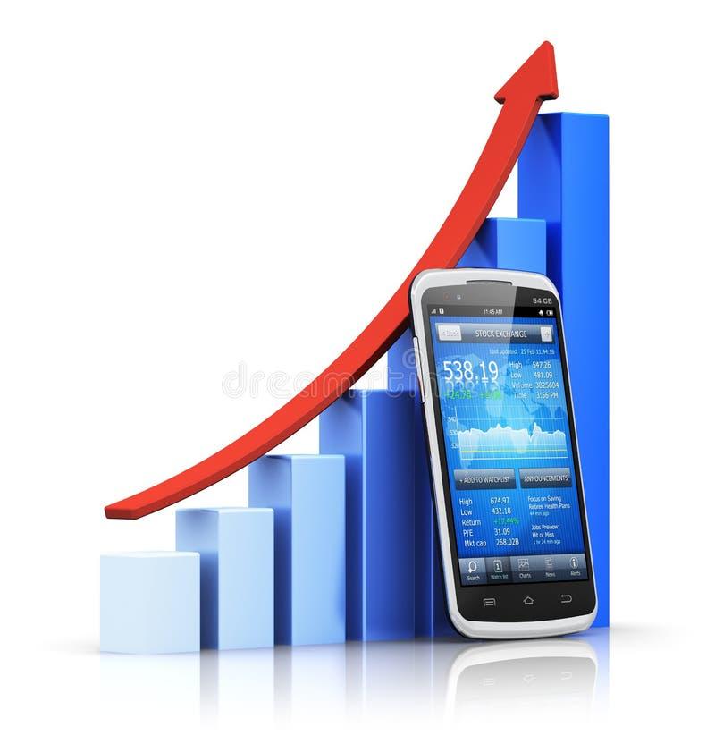 Mobiel bankwezen en financiënconcept stock illustratie