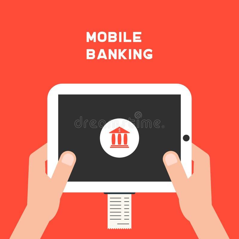 Mobiel bankwezen met witte tabletpc en looncheque stock illustratie
