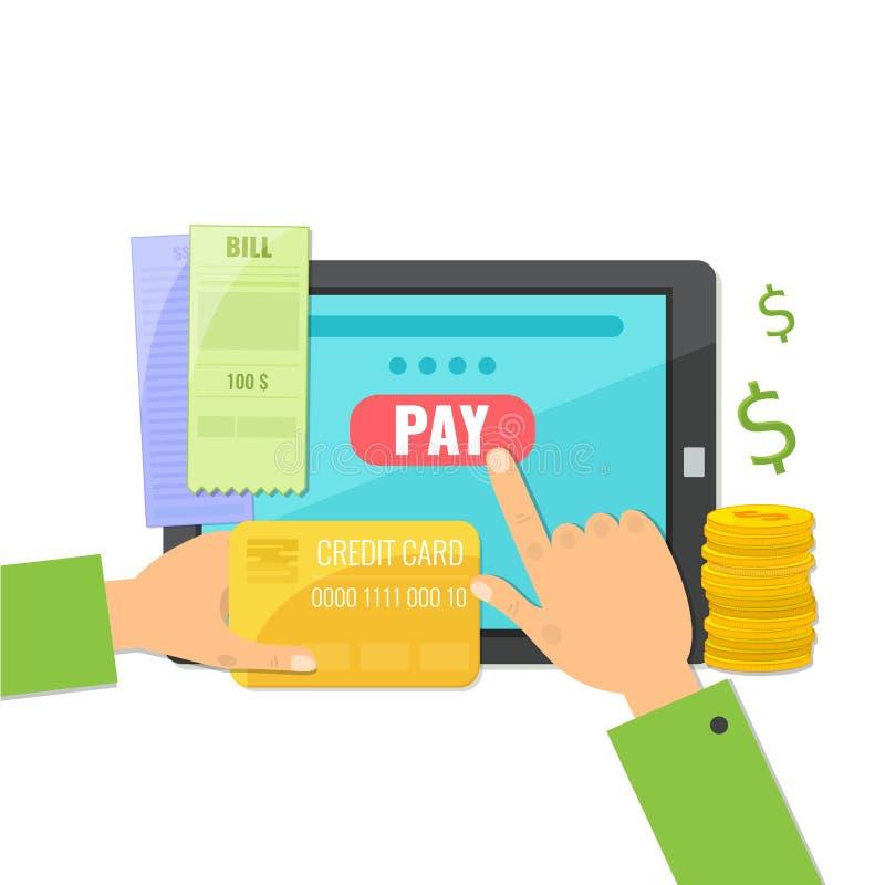 Mobiel betalingsconcept Betalend online rekeningen royalty-vrije illustratie
