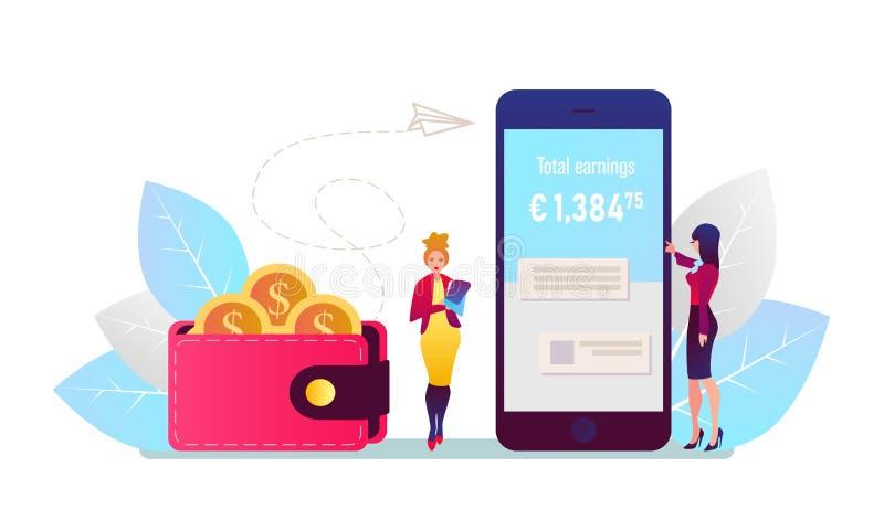 Mobiel betalingsconcept Online betalend rekeningen op tabletcomputer Vector illustratie stock illustratie