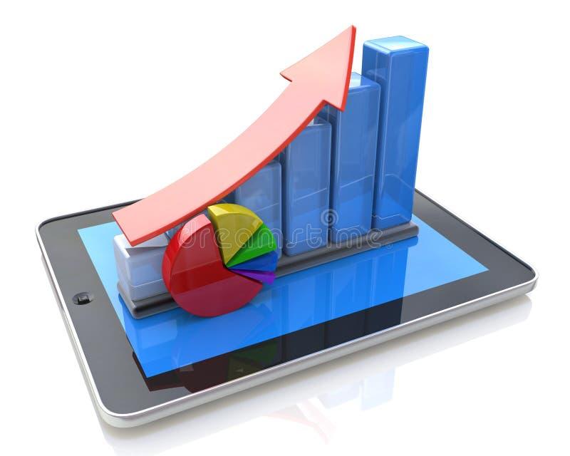 Mobiel bureau, statistieken die, financiële ontwikkeling rekenschap geven vector illustratie