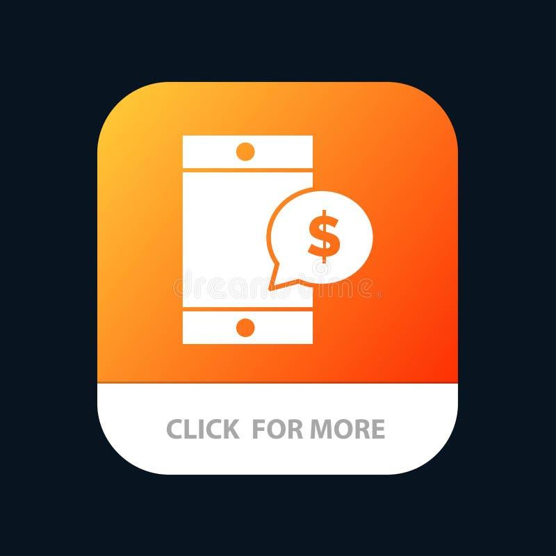 Mobiel, Cel, Geld, de Knoop van de Dollarmobiele toepassing Android en IOS Glyph Versie stock illustratie