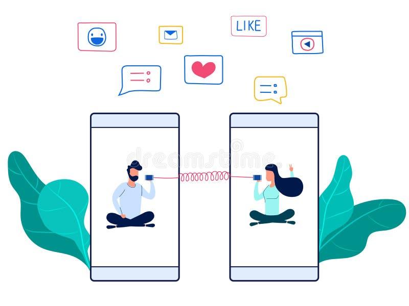 Mobiel communicatiemiddel en sociaal netwerkconcept De mensen wijdden zich aan technologie stock illustratie