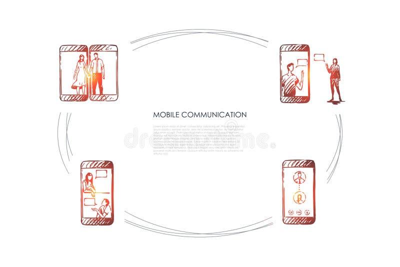 Mobiel communicatiemiddel - het mobiele telefoonscherm en mensenmededeling over het vectorconceptenreeks stock illustratie