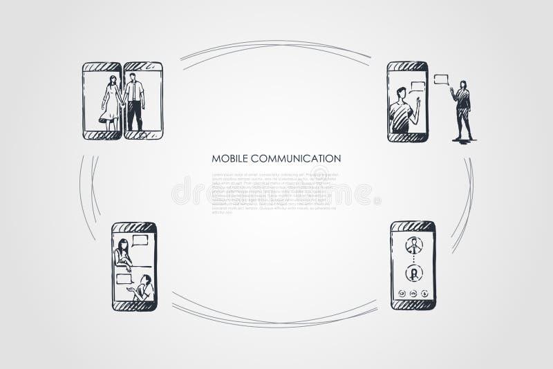 Mobiel communicatiemiddel - het mobiele telefoonscherm en mensenmededeling over het vectorconceptenreeks vector illustratie