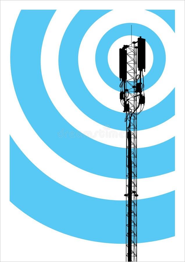 Mobiel communicatiemiddel mast stock illustratie