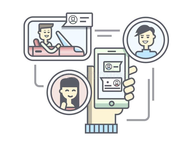 Mobiel communicatiemiddel vlak lineair ontwerp royalty-vrije illustratie