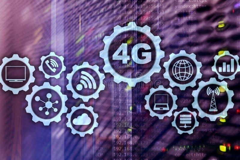Mobiel de dataverbindingconcept van de telecommunicatie cellulair hoge snelheid: 4G LTE Op de achtergrond van de serverruimte stock illustratie
