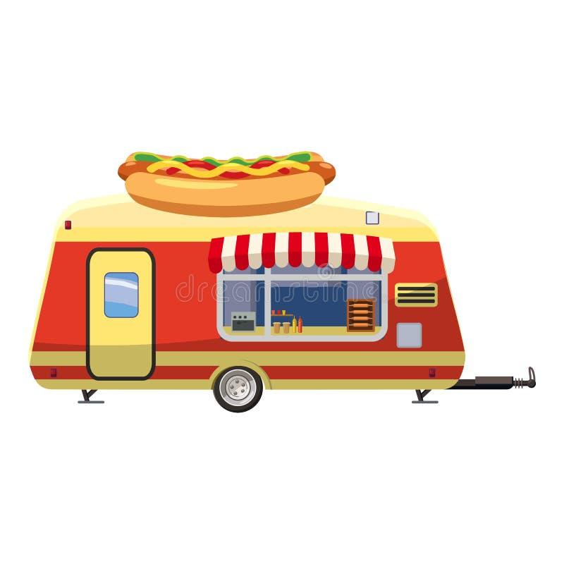 Mobiel de snackpictogram van de hotdogaanhangwagen, beeldverhaalstijl royalty-vrije illustratie