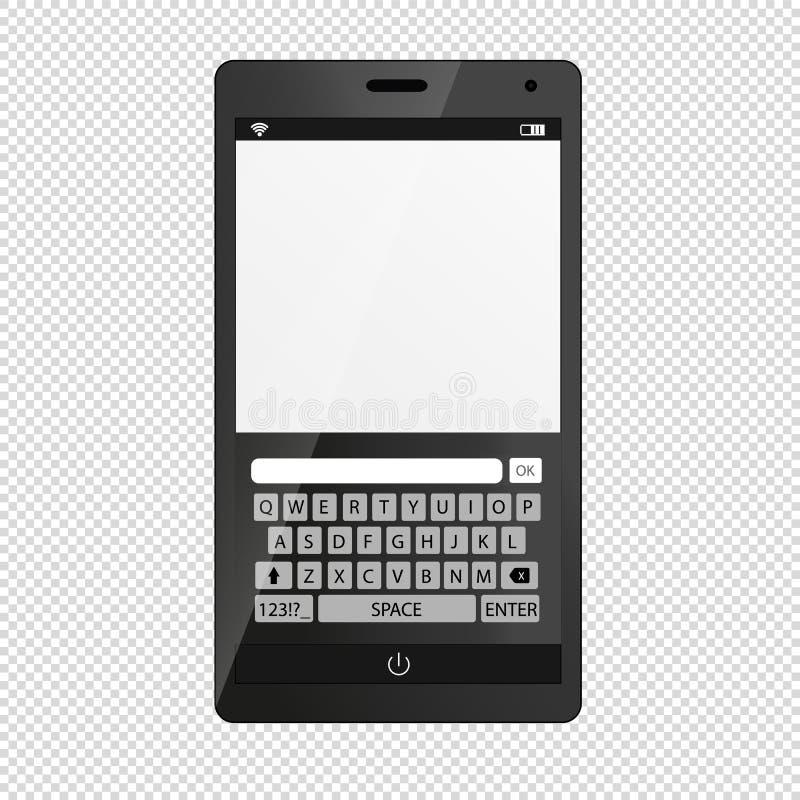 Mobiel die Apparaat Smartphone met Toetsenbord - op Transparant wordt geïsoleerd royalty-vrije illustratie
