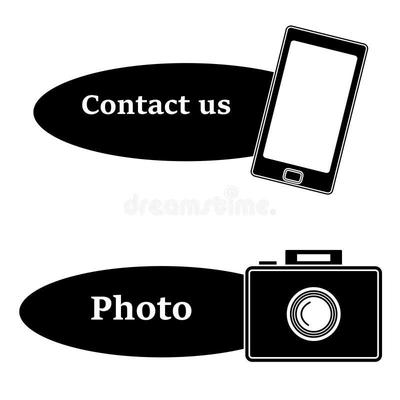 Mobiel die pictogram met tekst en camerapictogram op wit BC wordt geïsoleerd stock illustratie