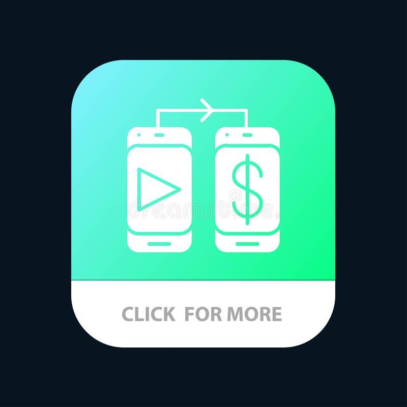 Mobiel, Dollar, de Knoop van de Geldmobiele toepassing Android en IOS Glyph Versie royalty-vrije illustratie