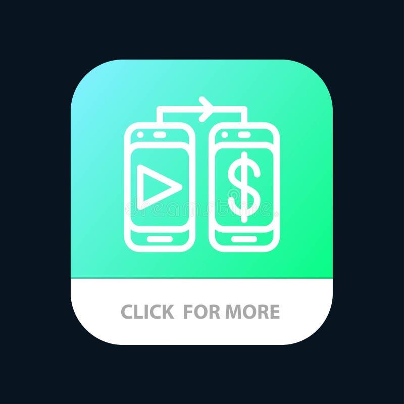 Mobiel, Dollar, de Knoop van de Geldmobiele toepassing Android en IOS Lijnversie stock illustratie