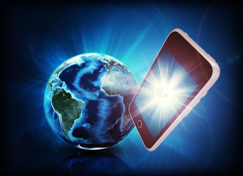 Mobiel in forefround, aarde op abstracte achtergrond stock illustratie