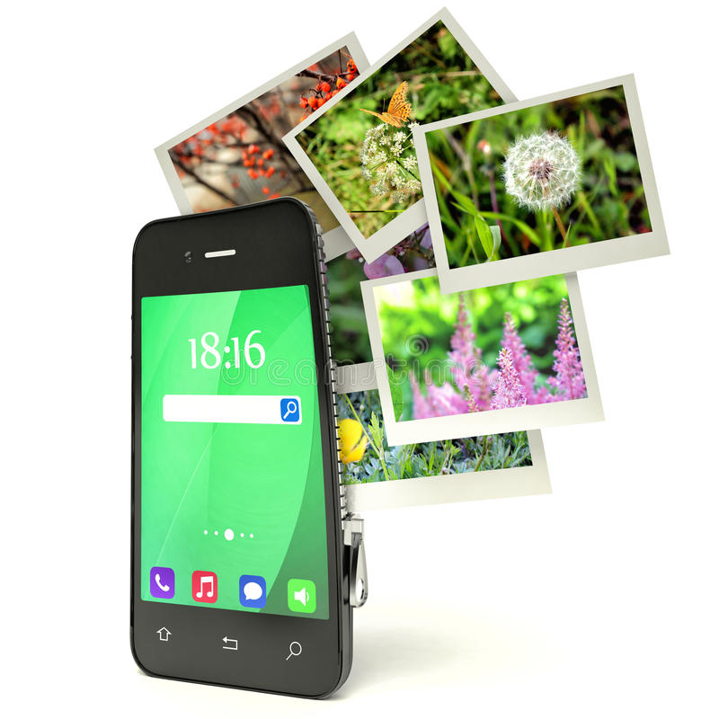 Mobiel fotografieconcept: touchscreen smartphone in camera stock illustratie