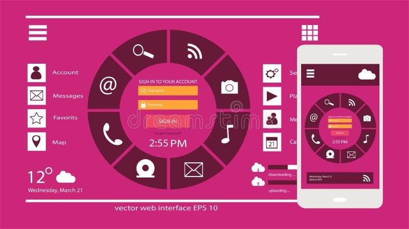 Mobiel gebruikersinterface en de vector roze kleur van het Webontwerp stock fotografie