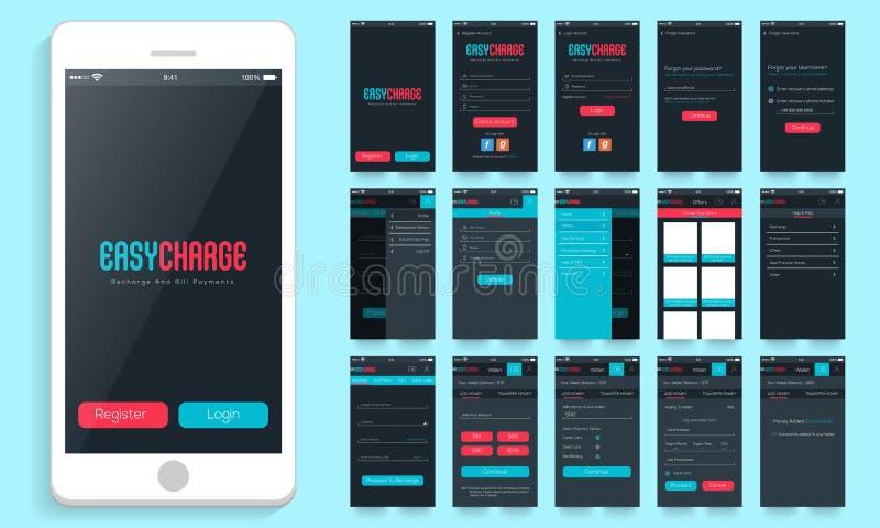 Mobiel Gebruikersinterface voor Online Betalingsopties vector illustratie