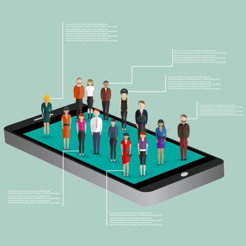 Mobiel generatiemalplaatje met menigte van toevallige micro- mensen op het slimme scherm van de telefoonaanraking vlak 3d Web iso stock illustratie