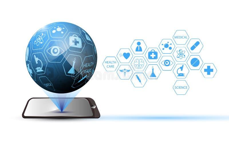 Mobiel globaal technologie medisch wetenschap en gezondheidszorgconcept royalty-vrije illustratie