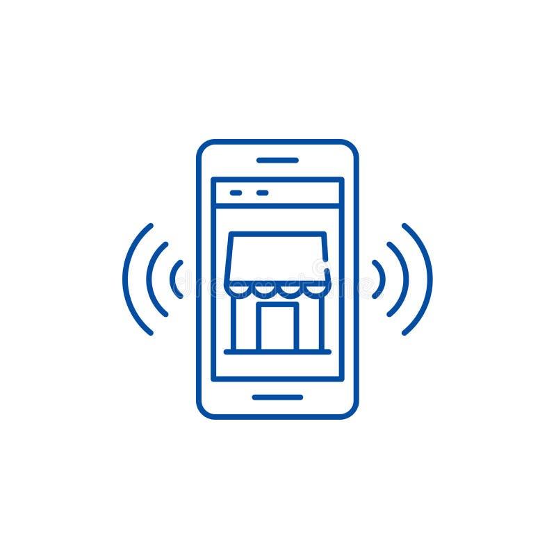 Mobiel het pictogramconcept van de elektronische opslaglijn Mobiel elektronische opslag vlak vectorsymbool, teken, overzichtsillu vector illustratie