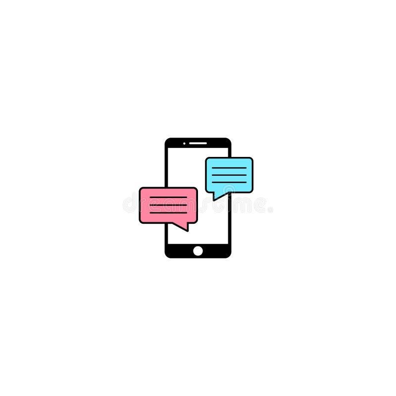 Mobiel het tekenpictogram van het telefoonpraatje in vlakke stijl Bericht notificationson wit geïsoleerde achtergrond Smartphone- stock illustratie