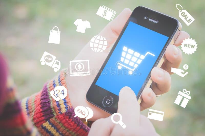 Mobiel het winkelen concept stock foto