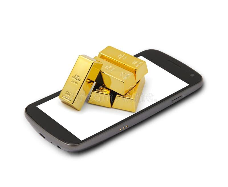 Mobiel het winkelen goud royalty-vrije stock afbeeldingen