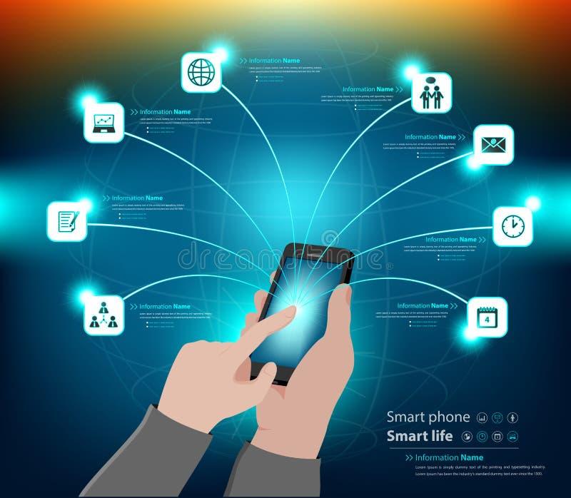 Mobiel infographic gebruik en bedrijfspresentatie royalty-vrije stock afbeeldingen