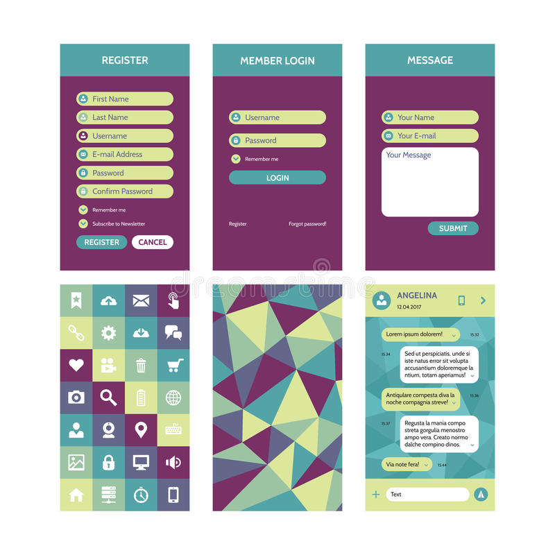 Mobiel interface vectormalplaatje in vlakke stijl voor materiële ontwerpprojecten UI uitrustingselementen vector illustratie