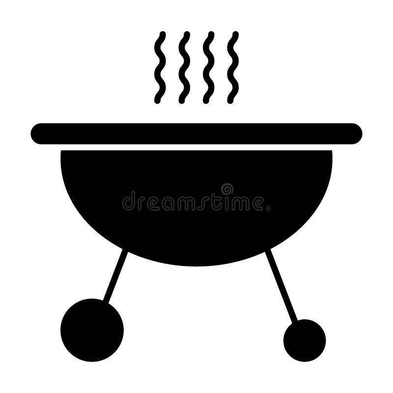 Mobiel koperslagers stevig pictogram Barbecue vectordieillustratie op wit wordt geïsoleerd Het ontwerp van de grill glyph stijl,  stock illustratie