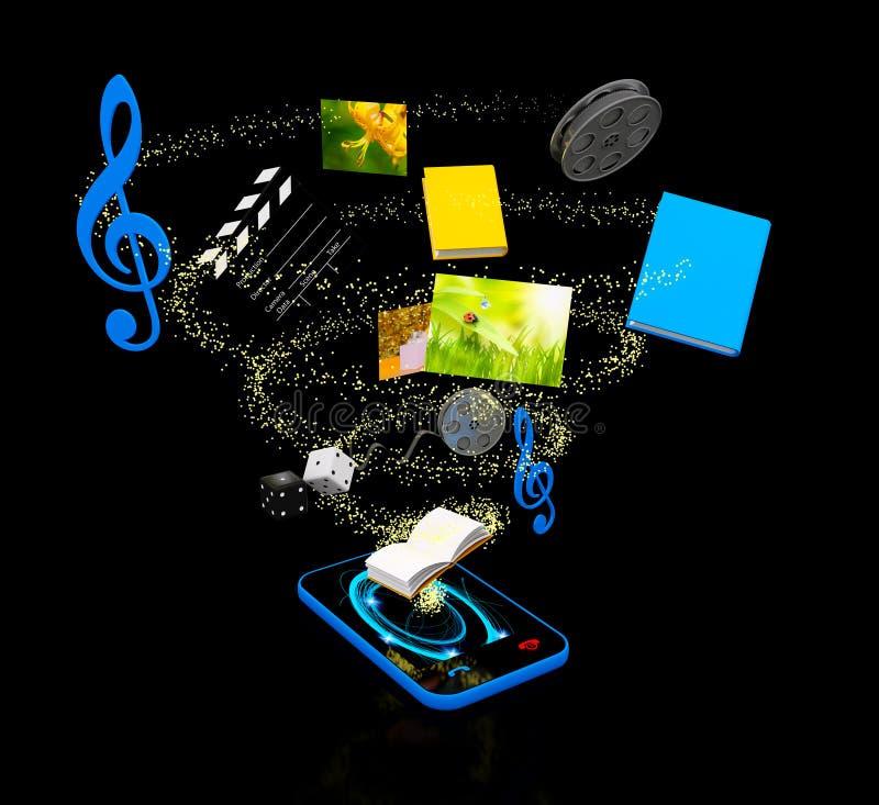 Mobiel media concept over zwarte vector illustratie