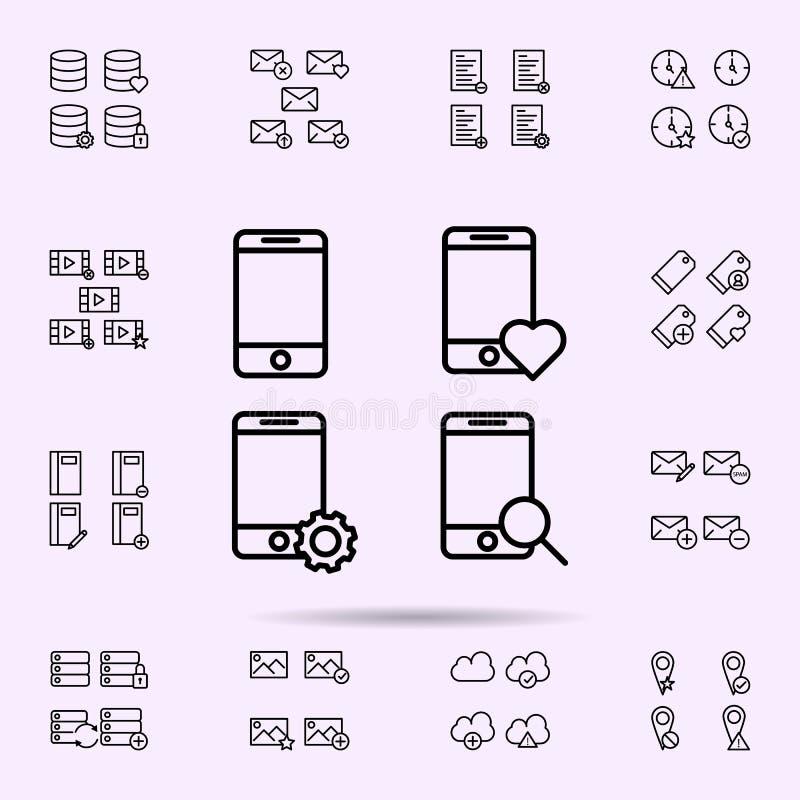 mobiel, meer magnifier telefoon, hart, het pictogram van het toestelteken voor Web wordt geplaatst dat en het mobiele algemene be royalty-vrije illustratie