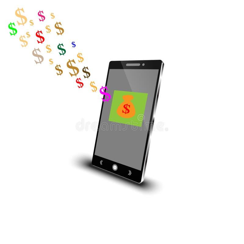 Mobiel met dollarteken royalty-vrije stock afbeeldingen