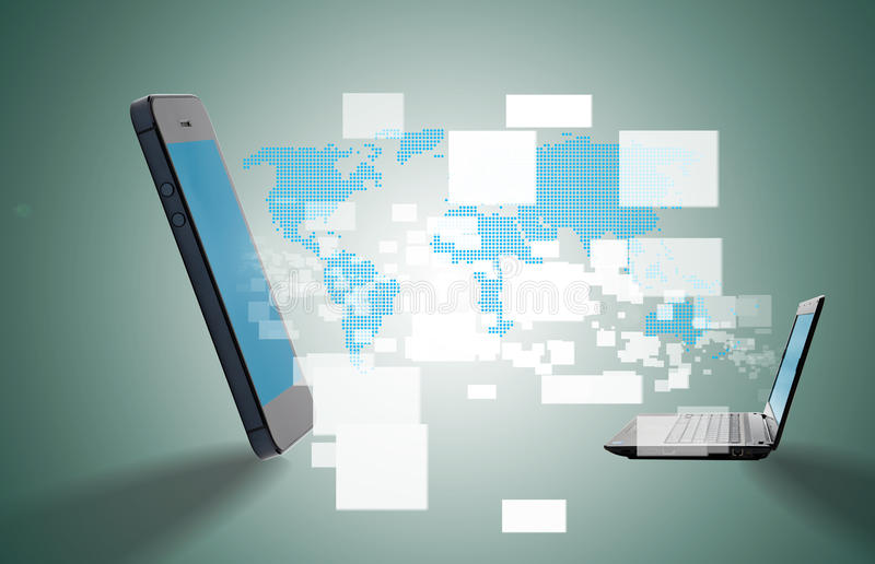 Mobiel met gegevensoverdracht royalty-vrije stock afbeelding