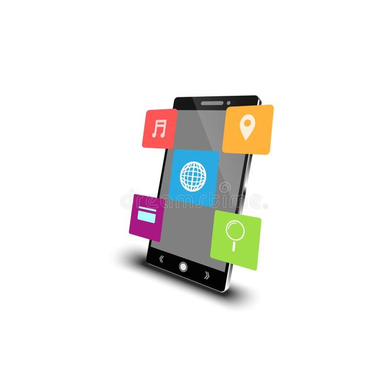 Mobiel met pictogramtoepassing royalty-vrije stock foto