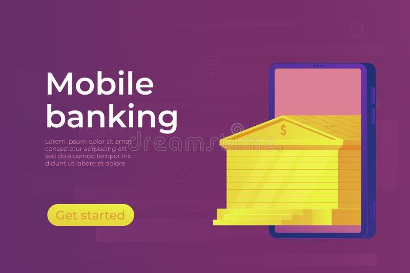 Mobiel online bankierenconcept De gouden Bankbouw De banner van het Web royalty-vrije illustratie