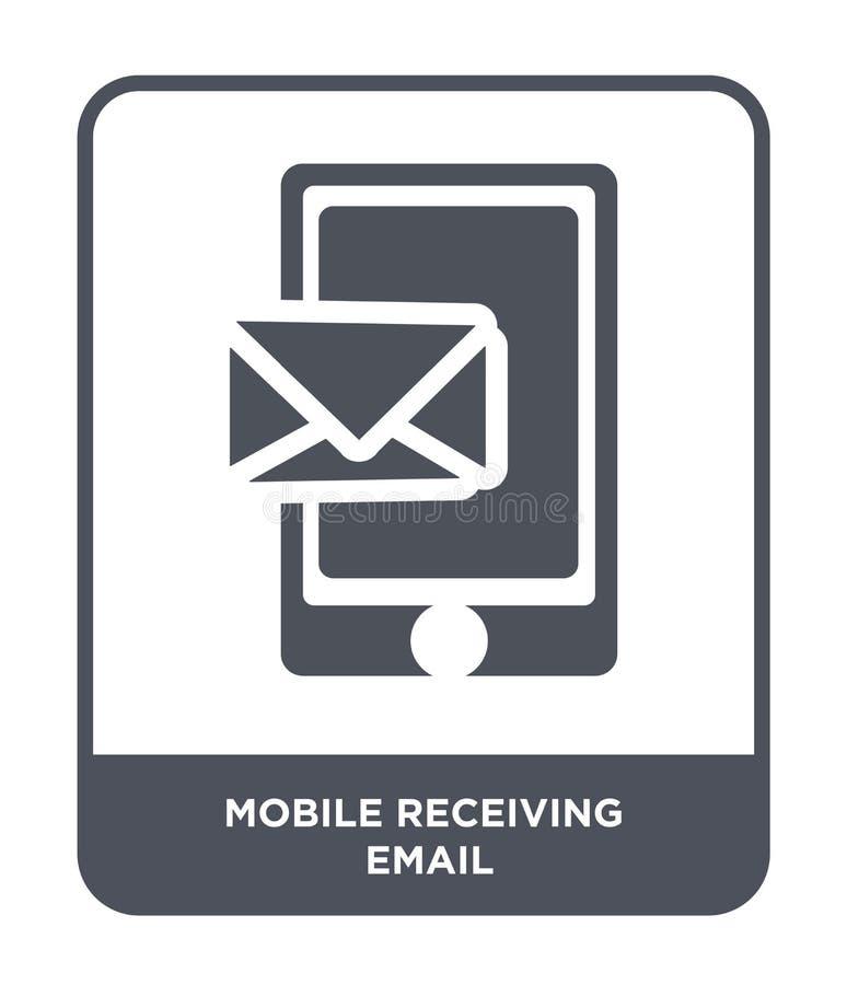 mobiel ontvangend e-mailpictogram in in ontwerpstijl mobiel ontvangend e-maildiepictogram op witte achtergrond wordt geïsoleerd h stock illustratie