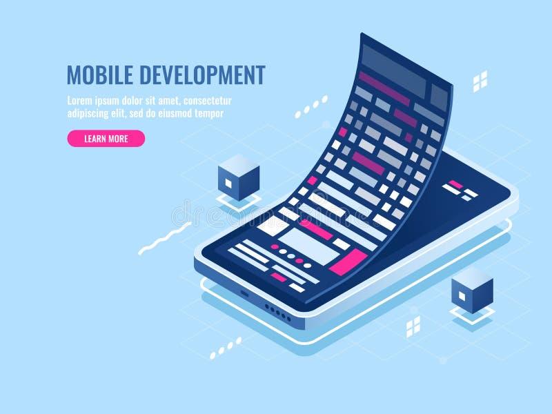 Mobiel ontwikkelingsconcept, berichtbroodje, software programmering voor mobiele telefoon, de isometrische vector van de smartpho vector illustratie